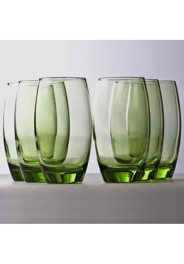 500 ml Barrel Long Decorative Glass Green - 6 Pcs