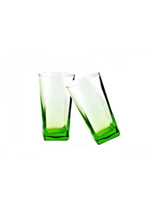 Carre Long Glass Green 305 ml - 6 Pcs