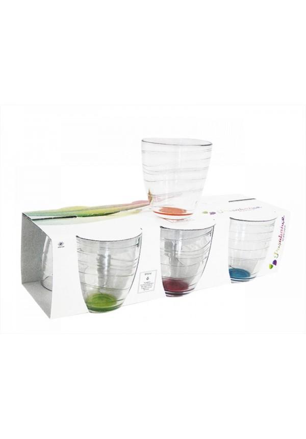 Enjoy Tumbler Assorted Colors Glasses Pack of 6,  280 ml