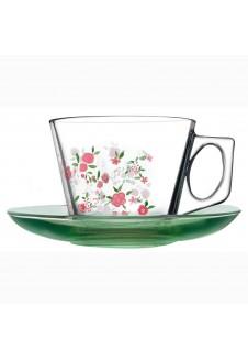 Vela Cup And Saucer (Enjoy) Printed - 12 Pcs Set, cup-190 ml