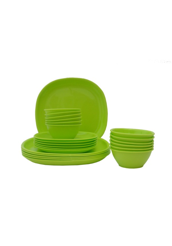 incrizma pack of 24 dinner set square lime green 1651